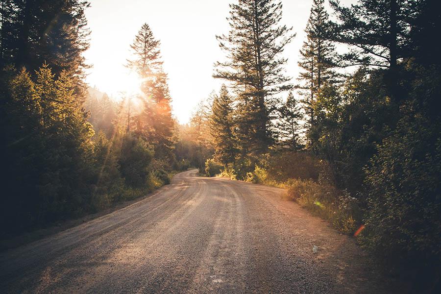 Camino de campo con puesta de sol. Proceso de duelo.